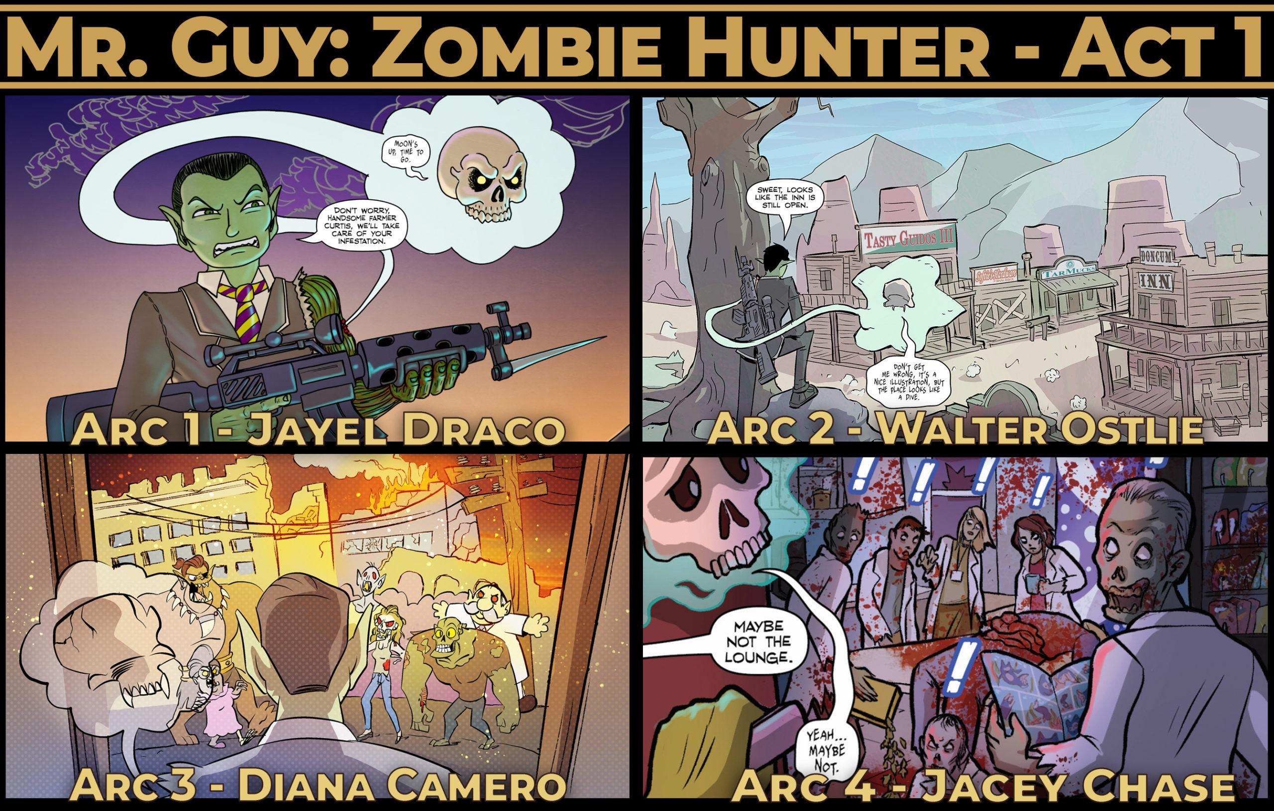 Mr. Guy: Zombie Hunter - Act 1 - all four arcs